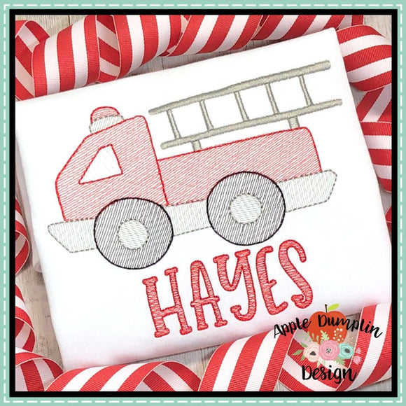 Fire Truck Sketch Embroidery Design