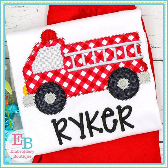 Fire Truck Zigzag Applique