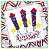 Firework Trio Bows Bean Applique