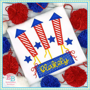 Firework Trio Bows Satin Applique