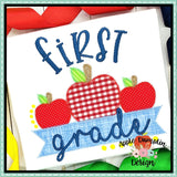 First Grade Apple Banner Zigzag Applique Design