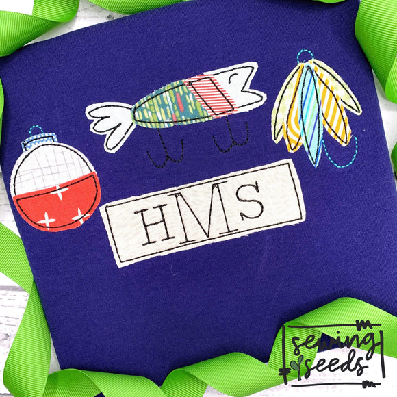 Fishing Lure TRIO with Name Tag Applique SS-Embroidery Boutique