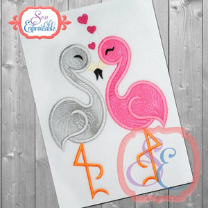 Flamingo Love Applique, Applique