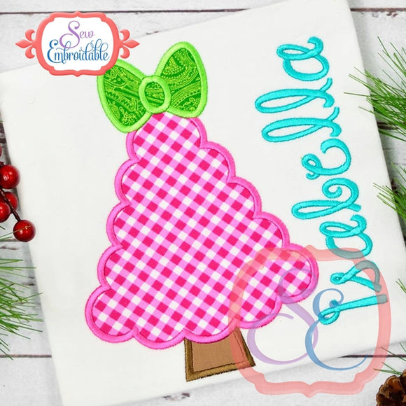 Fluffy Tree with Bow Applique, Applique