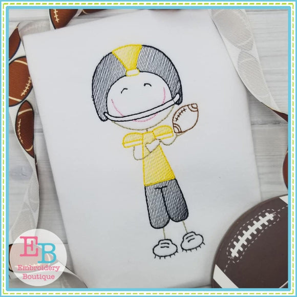Football Player Sketch Design - embroidery-boutique