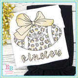 Football Big Bow Cheetah Sketch Embroidery Design, Embroidery