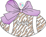 Football Big Bow Tiger Sketch Embroidery Design, Embroidery