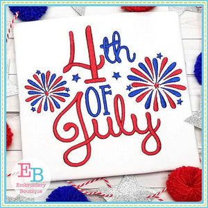 4th of July Fireworks Design, Embroidery