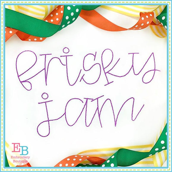 Frisky Jam Bean Stitch Embroidery Font, Embroidery Font