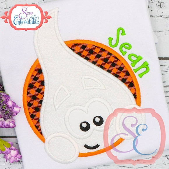 Ghost Boy Circle Applique