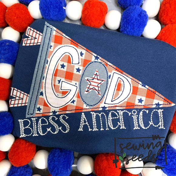 God Bless America Banner Applique SS - Sewing Seeds