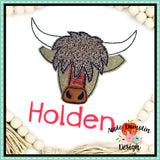 Highland Cow Bean Stitch Applique Design, applique