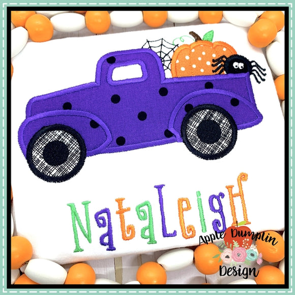 Halloween Vintage Truck Applique Design
