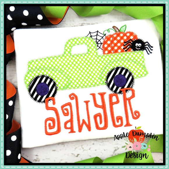 Halloween Vintage Truck Zigzag Applique Design