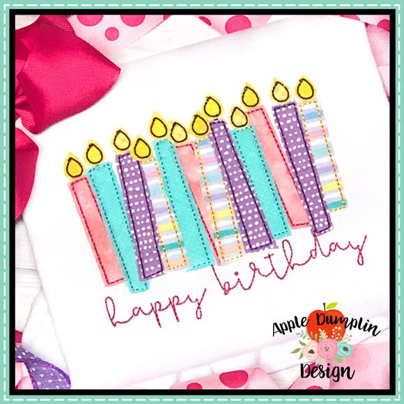 Happy Birthday Candles Bean Stitch Applique Design, applique