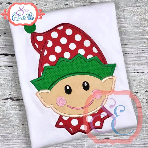 Happy Elf Face Boy Applique, Applique