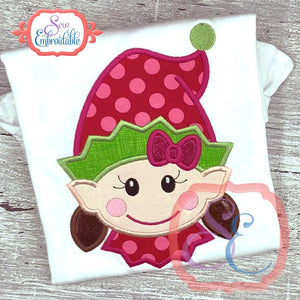 Happy Elf Face Girl Applique, Applique