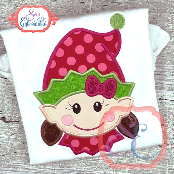 Happy Elf Face Girl Applique