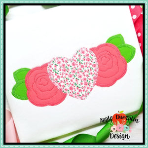 Heart with Flowers Zigzag Applique Design, applique