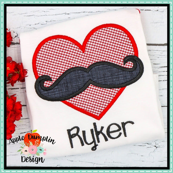 Mustache Heart Applique Design - embroidery-boutique