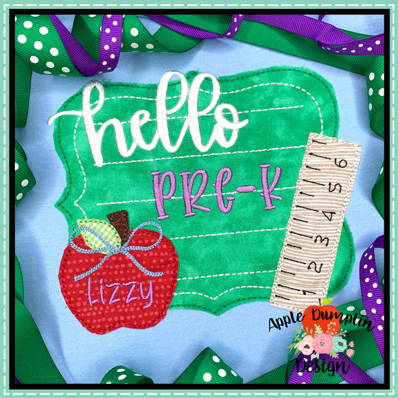 Hello Chalkboard Bean Stitch Applique Design, Applique