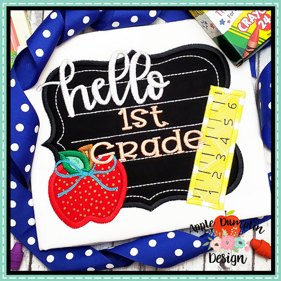 Hello Chalkboard Satin Applique Design, Applique