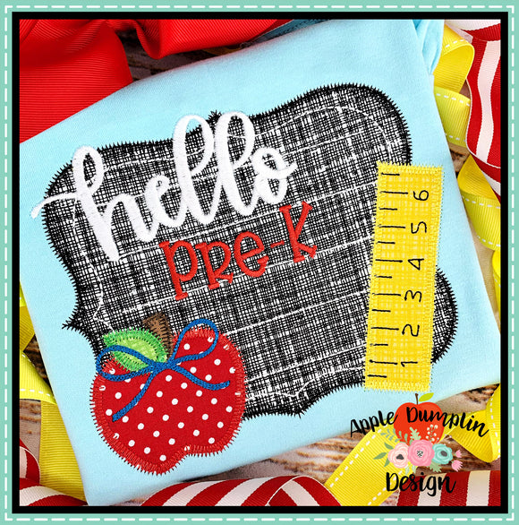 Hello Chalkboard Zigzag Applique Design