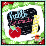 Hello Chalkboard Zigzag Applique Design, Applique
