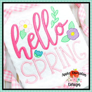 Hello Spring Sketch Embroidery Design-Embroidery Boutique