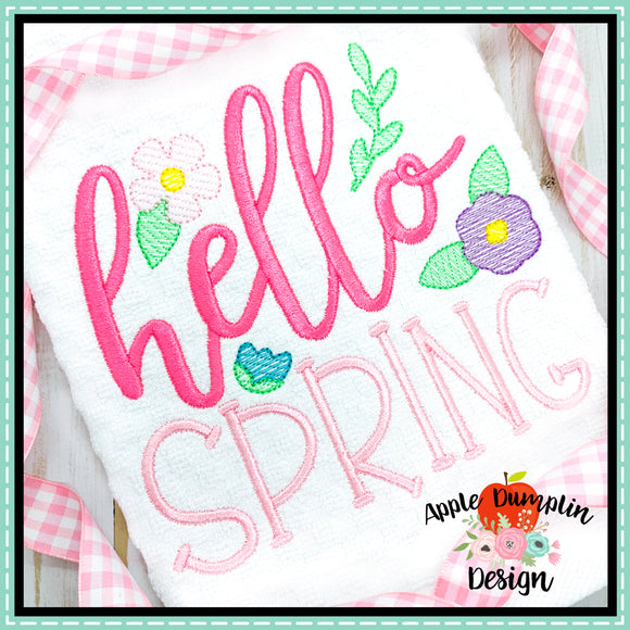 Hello Spring Sketch Embroidery Design