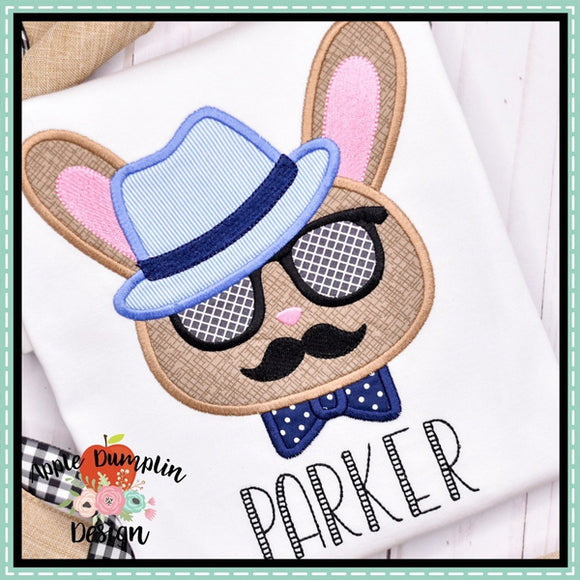 Hipster Bunny Applique Design