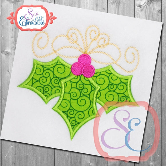 Holly Berries Applique - embroidery-boutique
