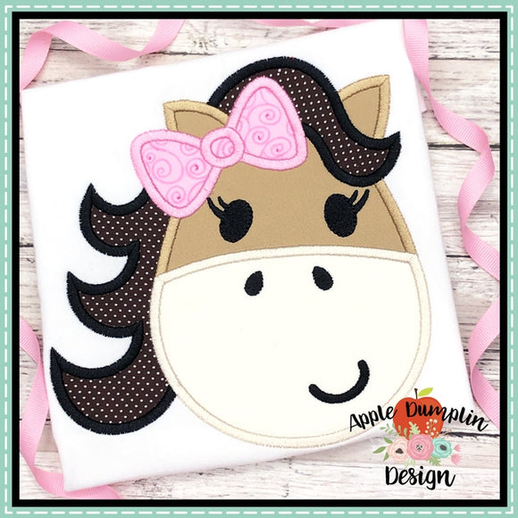 Horse with Bow Head Applique Design