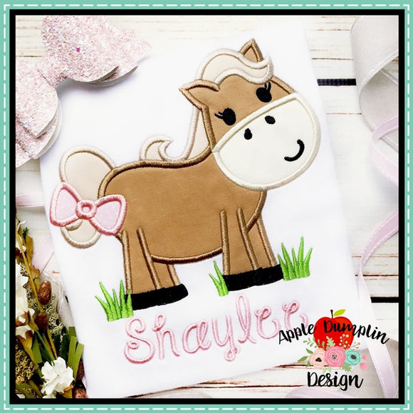 Horse in Grass Girl Applique Design