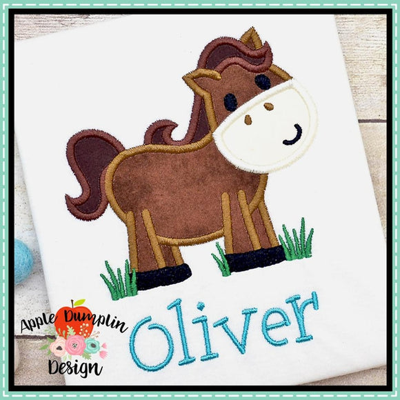 Horse in Grass Boy Applique Design