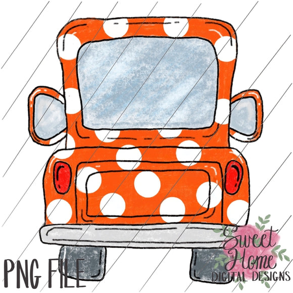 Vintage Orange Polka Dot Tailgate Truck PNG Printable