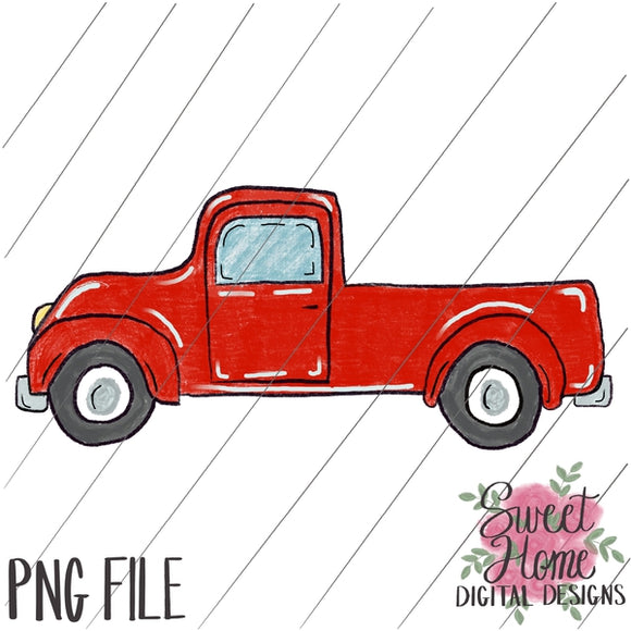 Vintage Red Truck PNG Printable