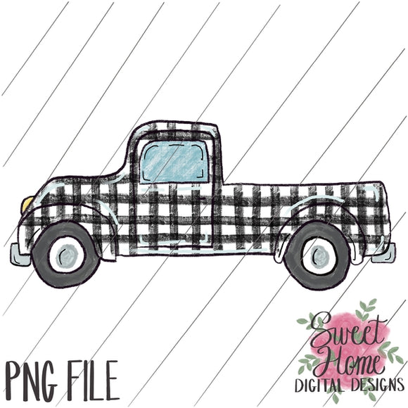 Vintage Truck White Buffalo Plaid PNG Printable