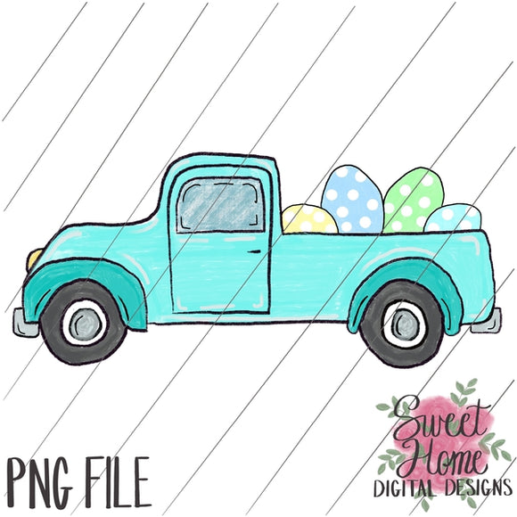 Vintage Aqua Easter Truck with Boy Dots PNG Printable