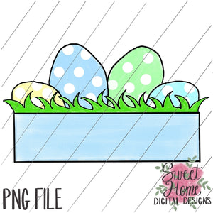 Easter Eggs with Banner Boy Colors PNG Printable, Printable