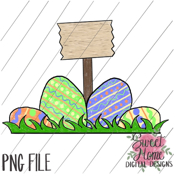 Easter Eggs with Sign PNG Printable