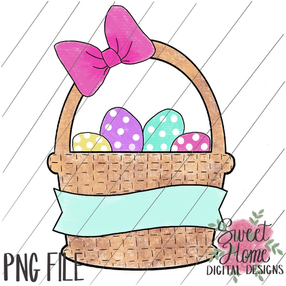 Easter Basket with Banner and Bow Girl Dot PNG Printable