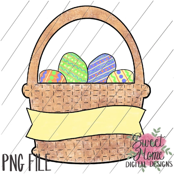 Easter Basket with Banner PNG Printable