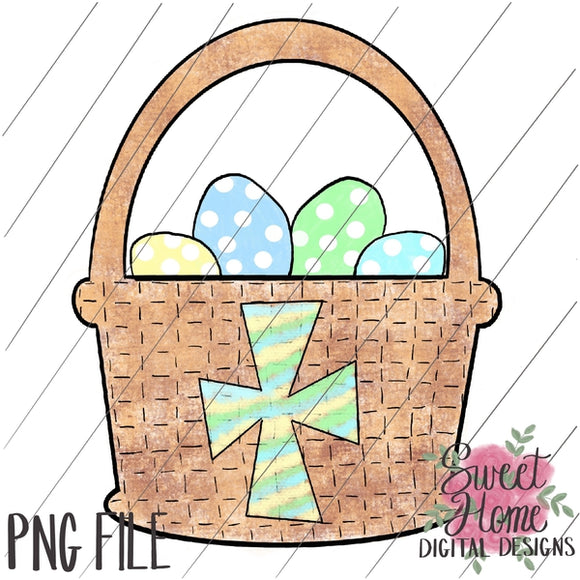 Easter Basket with Cross Boy Dot PNG Printable