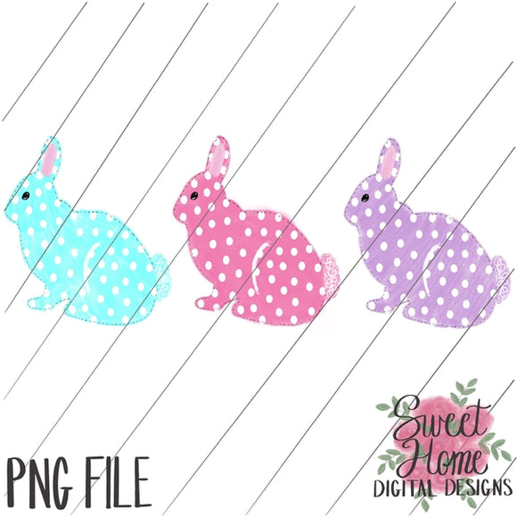 Bunny Trio Girl Dot PNG Printable