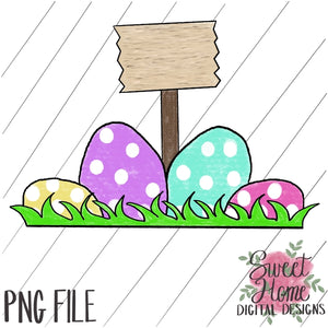 Easter Eggs with Sign Girl Dot PNG Printable