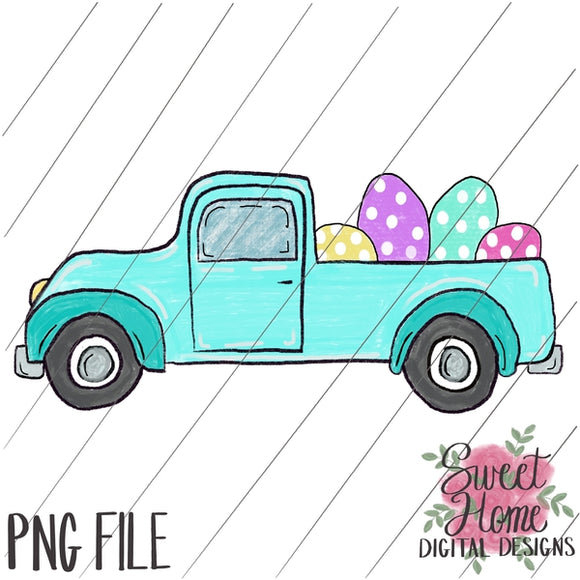 Vintage Aqua Easter Truck with Girl Dots PNG Printable