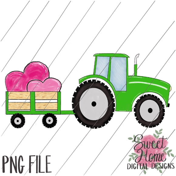 Green Tractor and Trailer with Valentine Hearts PNG Printable