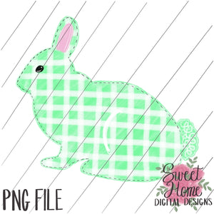Green Plaid Easter Bunny PNG Printable