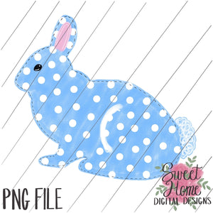 Blue Polka Dot Easter Bunny PNG Printable